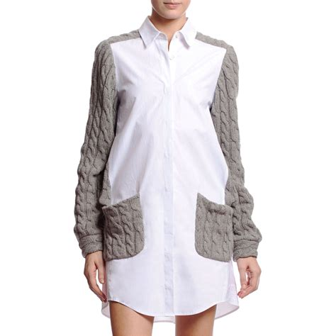 Gap Design Editions White Shirts By Doori Thakoon And Rodarte by Thakoon Cardigan Shirt Dress In Gray Grey Lyst