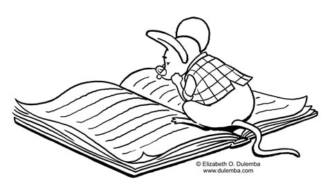 Dulemba Coloring Page Tuesday Studying Mouse | dulemba coloring page tuesday studying mouse