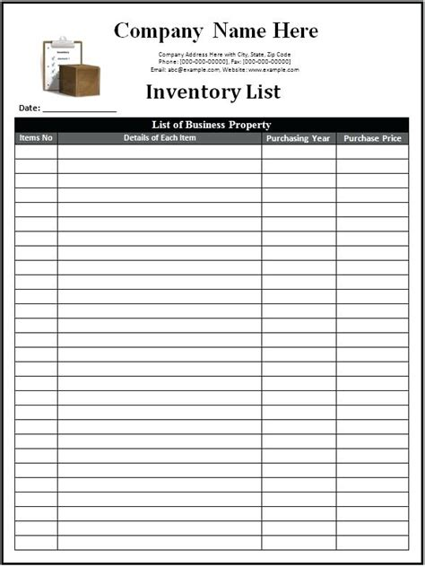 card list template for office parts inventory template