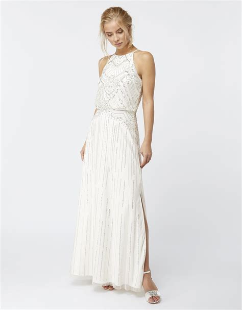 monsoon clara embellished bridal maxi dress in white lyst