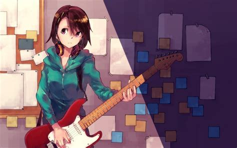 anime girl playing guitar wallpaper anime girl playing guitar full hd wallpaper and background