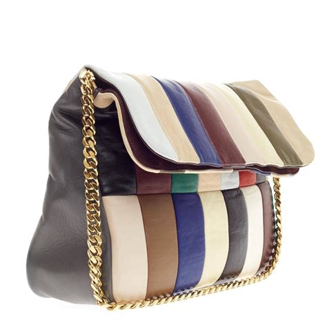 Leather Patchwork Handbags - multi gourmette flap shoulder bag patchwork leather