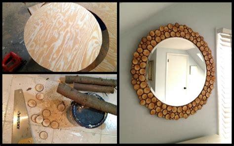 decorare oglinzi confectionarea unei oglinzi decorata cu busteni de copac
