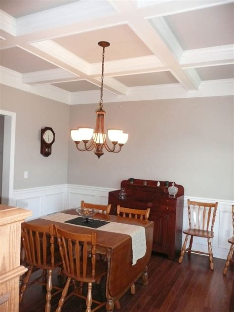 Dining Room Ceiling Ideas Furniture Luxury Dining Room With White Columns And Olive Walls Coffered Dining Room Coffered