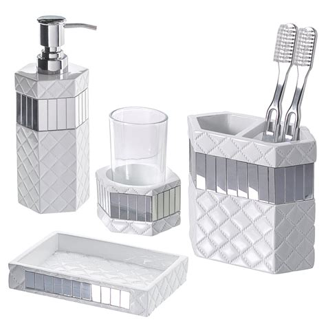 4 Piece Quilted Mirror Bathroom Accessories Set With Soap Mirrored Bathroom Accessories