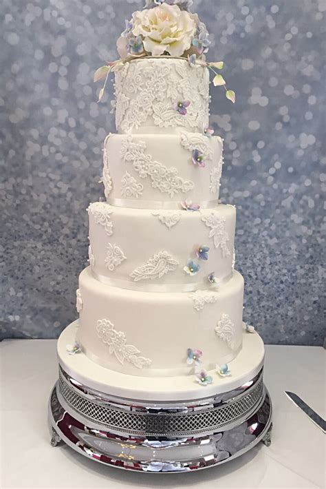 4 Tier White Lace   Fruit Cake Factory