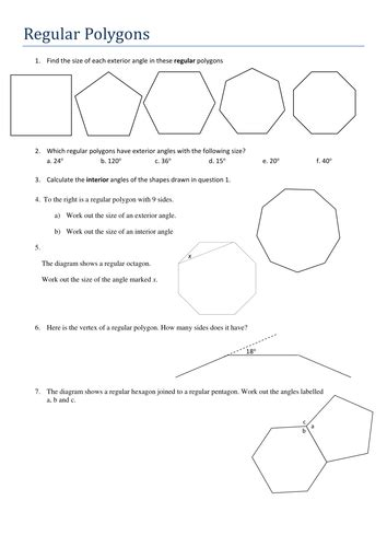 finding interior angles of a polygon worksheet ks4 maths angles in regular polygons worksheet by