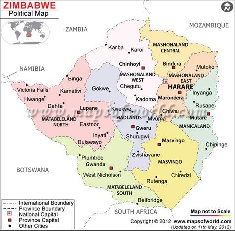 political map  zimbabwe zimbabwe provinces map