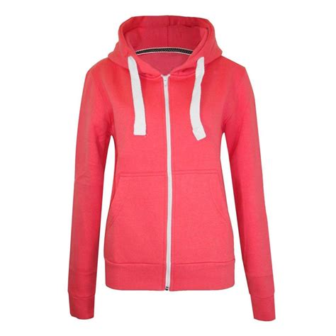 Plain Zip Detail Zip Jacket womens plain zip hoodie fleece sweatshirt jumper