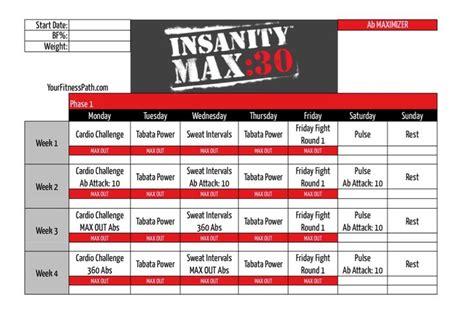 Calendario Max Insanity Max 30 Calendar Ab Maximizer Fitness