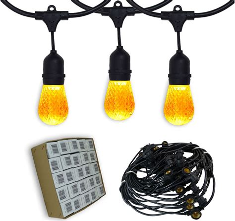 Patio Light Strands 48 Suspended Outdoor Patio Yellow Led Light Strand