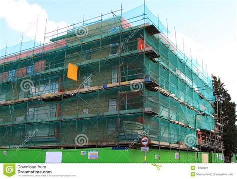 Apartment Building Blueprints Scaffold Safety Net Stock Image Image 18398891