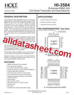 holt integrated circuits inc hi 3584 datasheet pdf holt integrated circuits