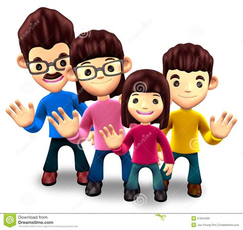 Happy Family Character Sticker royalty free stock images happy family welcome 3d home