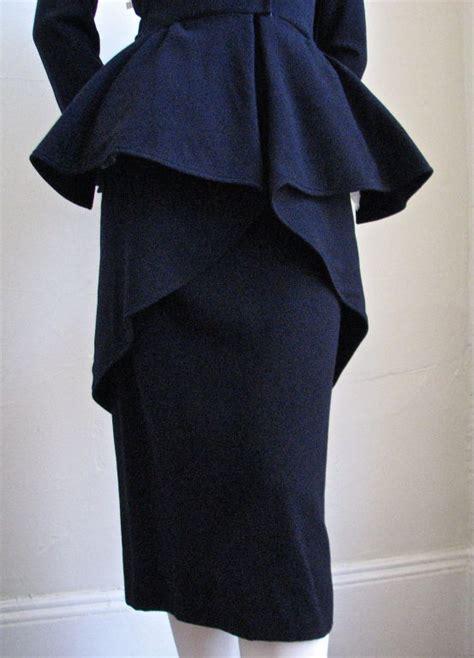 Id 451 Blue Peplum Halter Dress jacques fath navy blue dress with peplum waist at 1stdibs