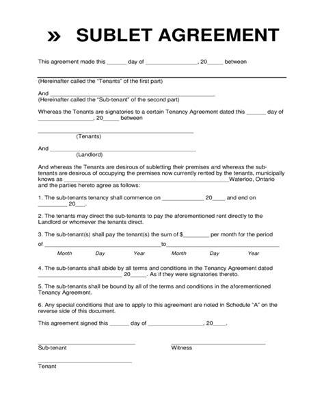 Sublet Agreement Template Sublet Agreement Template Sublease Agreement Form Sublet Contract Sublease Contract Template