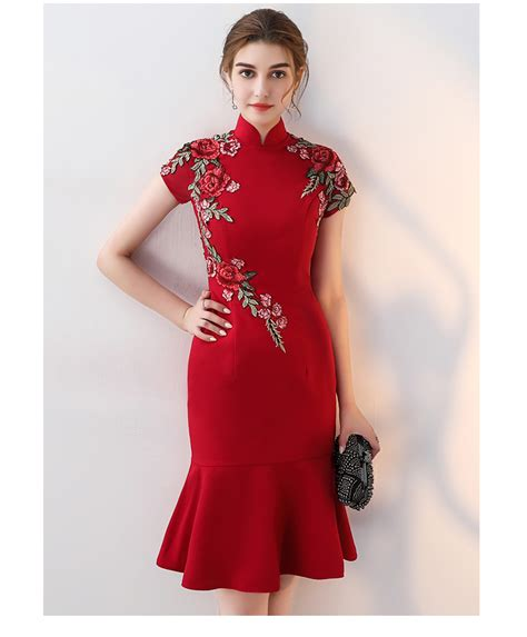 cheongsam qipao dress fashion evening party embroidery