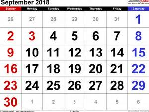 Calendar 2018 Doc September 2018 Calendars For Word Excel Pdf