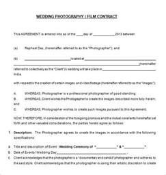 wedding contract templates 20 photography contract template