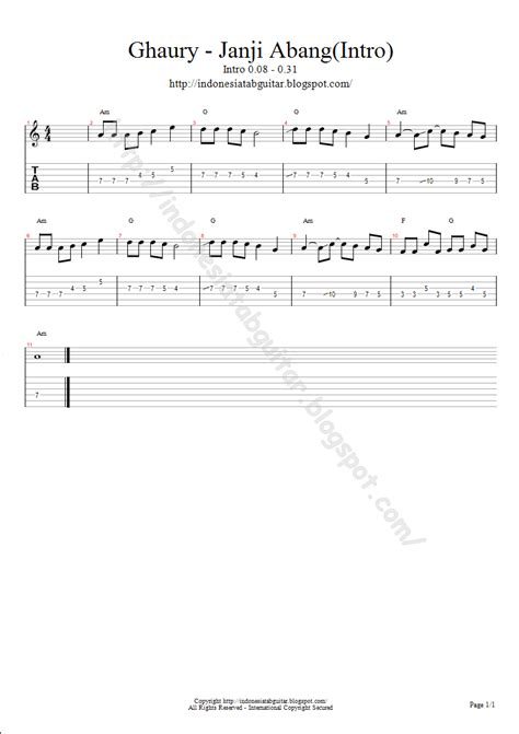 Ghaury Janji Abang tab gitar tab guitar ghaury janji abang intro