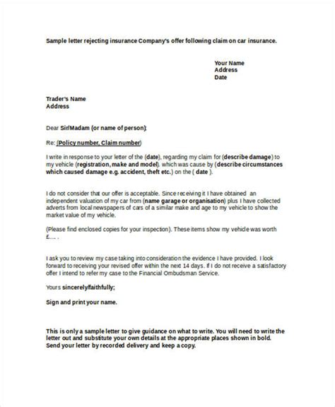 Letter Rejecting Warranty Claim insurance decline letter sle docoments ojazlink