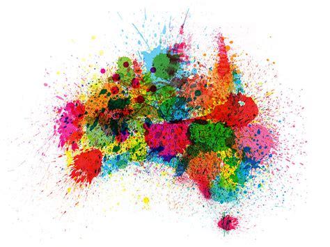australia paint splashes map digital by michael tompsett