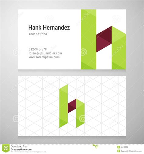 origami card template modern letter h origami business card template stock