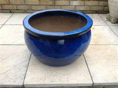 large blue glaze ceramic garden pot planter