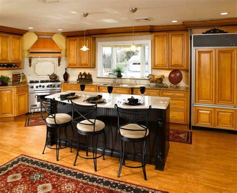 maple cabinets  black island