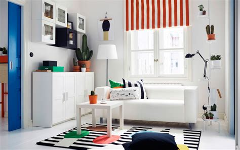 Ikea White Cabinets by Brighten Your Living Room With Stripes Of Color Ikea