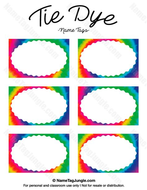 printable children s name labels free printable tie dye name tags the template can also be