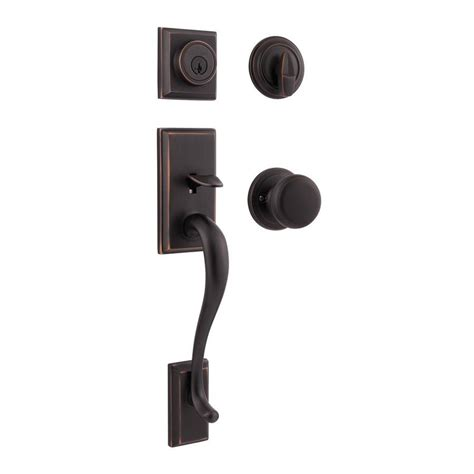 Exterior Door Handlesets Shop Kwikset Hawthorne Smartkey Venetian Bronze Single Lock Keyed Entry Door Handleset At Lowes