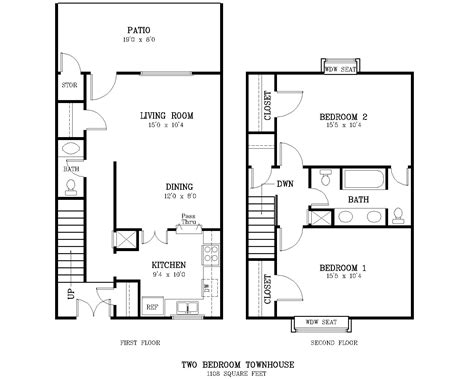 2 bedroom townhouse floor plans the courtyard two bedroom townhome