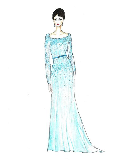 fashion illustration gown in teal dress fashion illustration turquoise gown with
