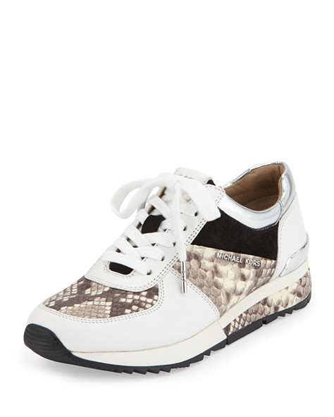 mk sneakers lyst michael michael kors wrap leather sneaker in gray