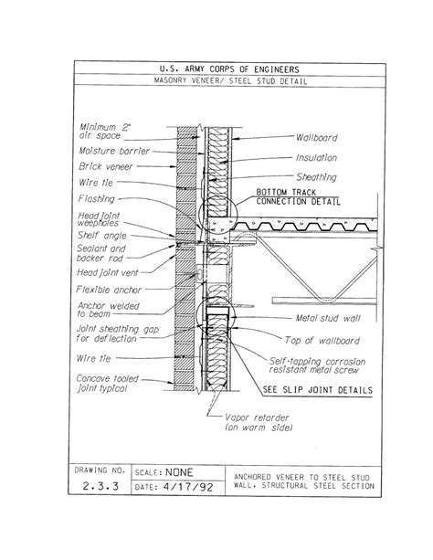 stud wall section steel stud wall section detail drawings pinterest