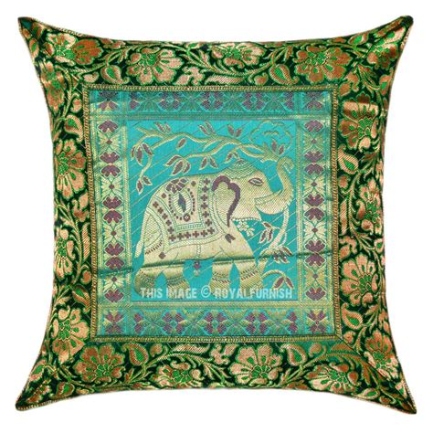 Handcrafted Pillows - green handcrafted elephant holding tree silk pillow cover
