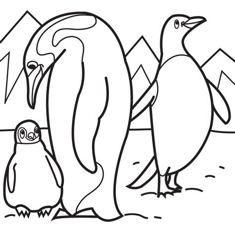 P For Penguin Coloring Page by Penguin Coloring Pages Penguin Family Walking Coloring