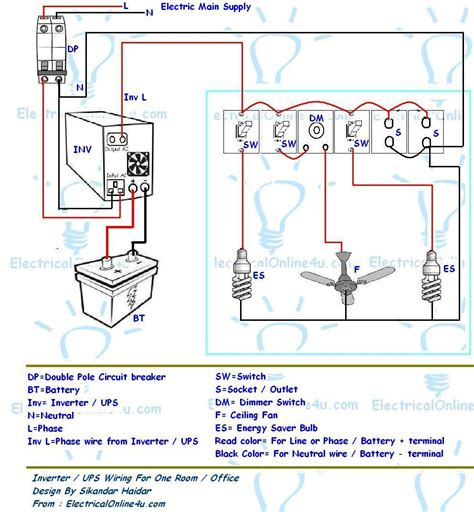 ups inverter wiring diagram for one room office