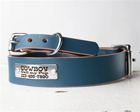 personalized blue leather collar belt buckle style