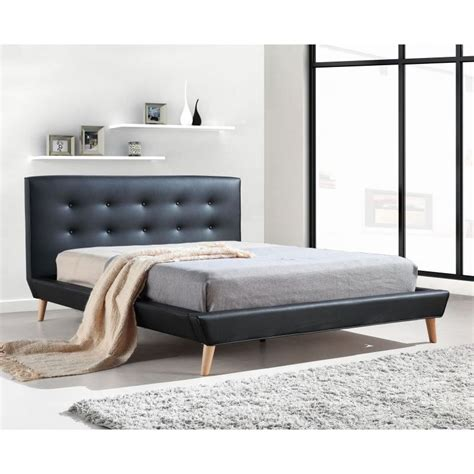 button bed frame button tufted double pu leather bed frame in black buy