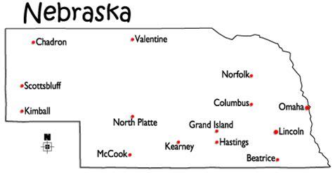 world atlas map of nebraska with major cities