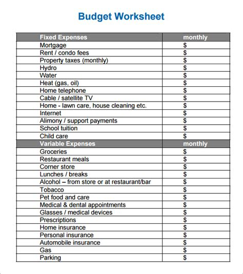 home budget sheet template personal budget worksheet printable fioradesignstudio