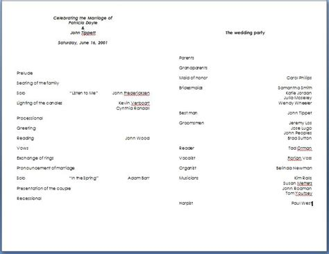 Word Program Template free ms word family wedding program template formal word