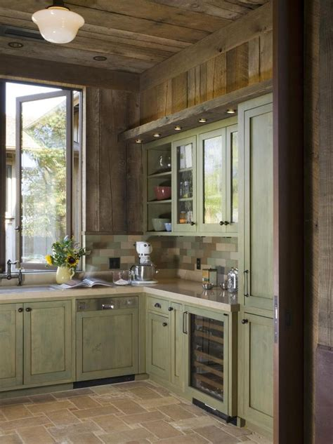 rustic green kitchen cabinets a rustic wine country retreat painted wood cabinets