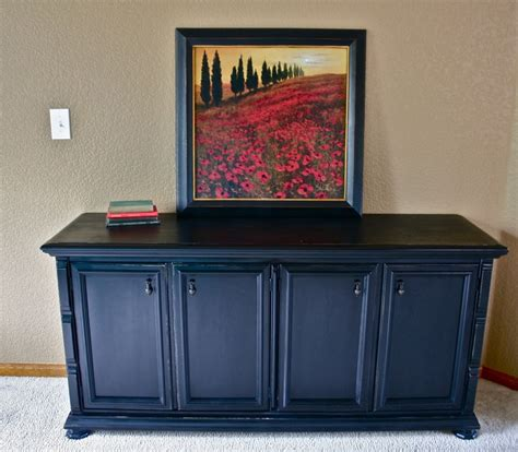 black media console dresser the painted piano