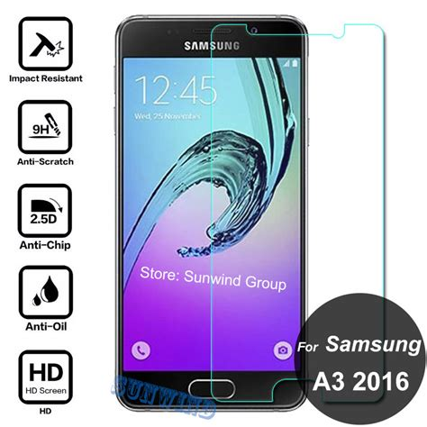 Tempered Glass Anti For Samsung Galaxy A3 2016 A310 for samsung galaxy a3 2016 screen protector 9h tempered glass safety protective on a 3