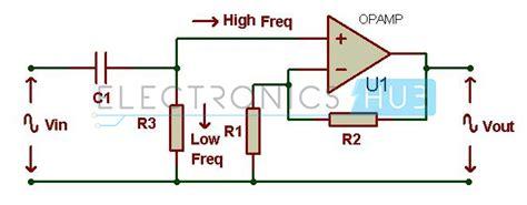high pass filter diagram active filters low and high pass filters band stop filter