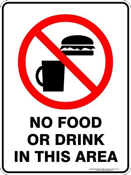 no food or drink no food or drink in this area australian safety signs