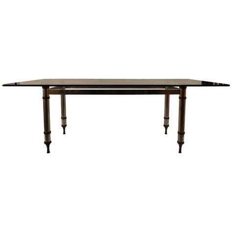 brass dining table base glass top aluminum and brass base dining table for sale at 1stdibs